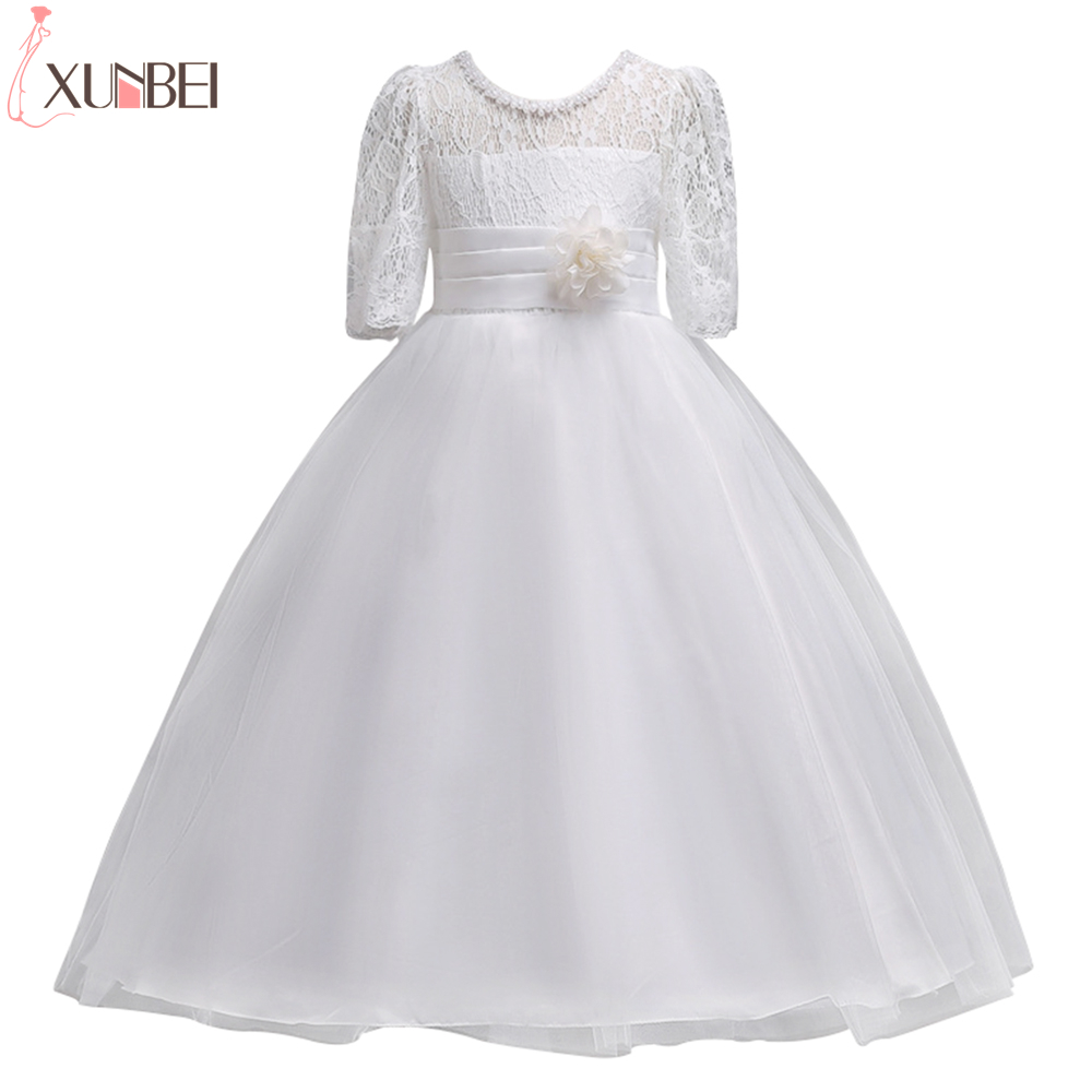 Lovely White Half Sleeve Lace Flower Girl Dresses 2019 Girls Pageant Dresses With Sash First Communion Dresses For Girls