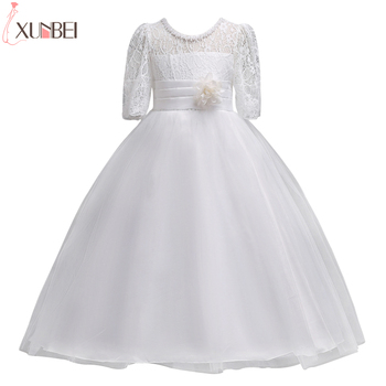 Lovely White Half Sleeve Lace Flower Girl Dresses 2020 Girls Pageant Dresses With Sash First Communion Dresses For Girls long sleeve flower girls dresses for wedding mermaid mother daughter dresses lace first communion dresses for girls
