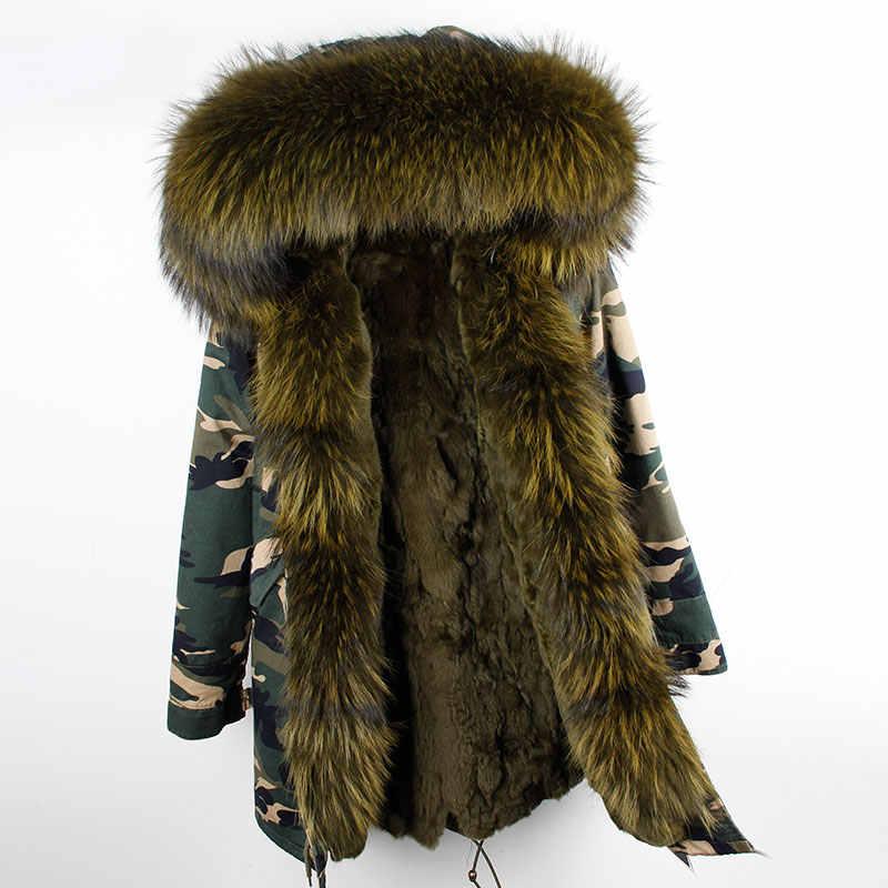2019 echtpelz Rex kaninchen parka ArmyGreen lange waschbären mit kapuze winter mantel frauen winter jacke natürliche echt pelz kragen pelz liner