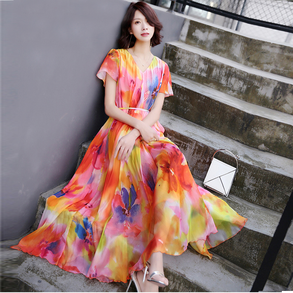 2019 New Collection Summer V Neck Floral Semi Formal Party Maxi Dress Beach Plus Size Flowy
