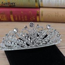 Wholesale alloy feather shape wedding crown bride wedding hair accessories wedding headdress jewelry bride tiara