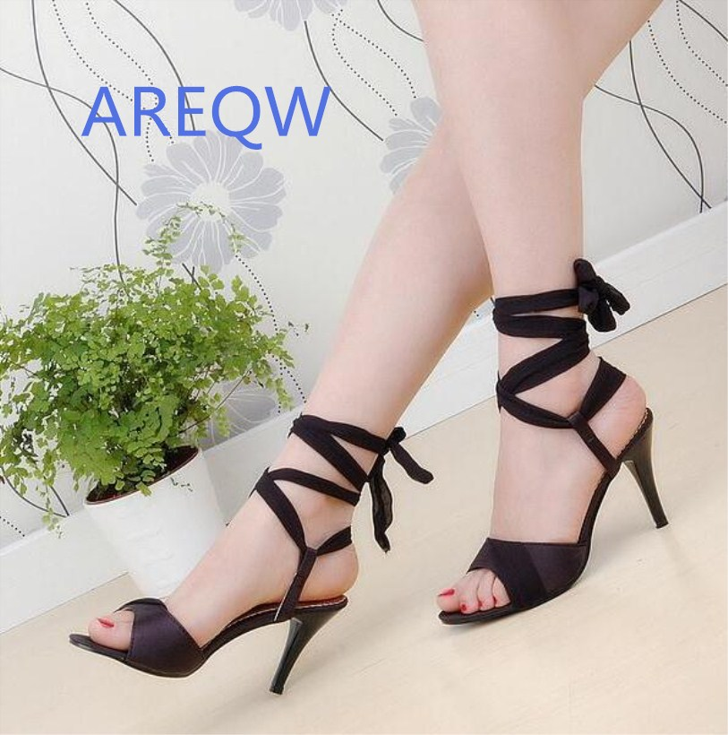Summer Hot Sales Women Sandals Red Black Beige Blue Ladies Sexy High Heel Shoes Cross Tied AHS-2 Plus Big Size 34-43 brand new hot sale sexy suede leather women tassel sandals blue black purple red ladies high heel fringe shoes plus big size 42