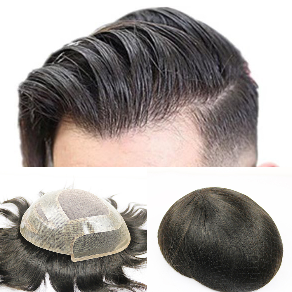 SimBeauty Toupee For Men Hair Pieces For Men Brazilian Virgin Human Hair Replacement System For Men, 10