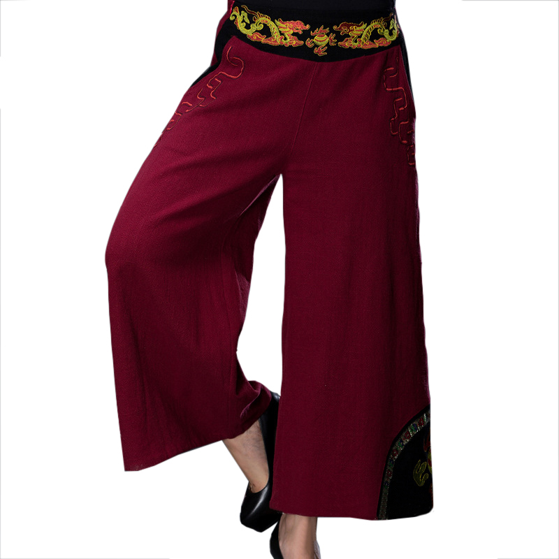 Burgundy Embroidery Dragon Chinese Women Trousers New Arriva Elastic Waist   Wide     Leg     Pants   Elegant Cotton Linen   Pant   L-XXL