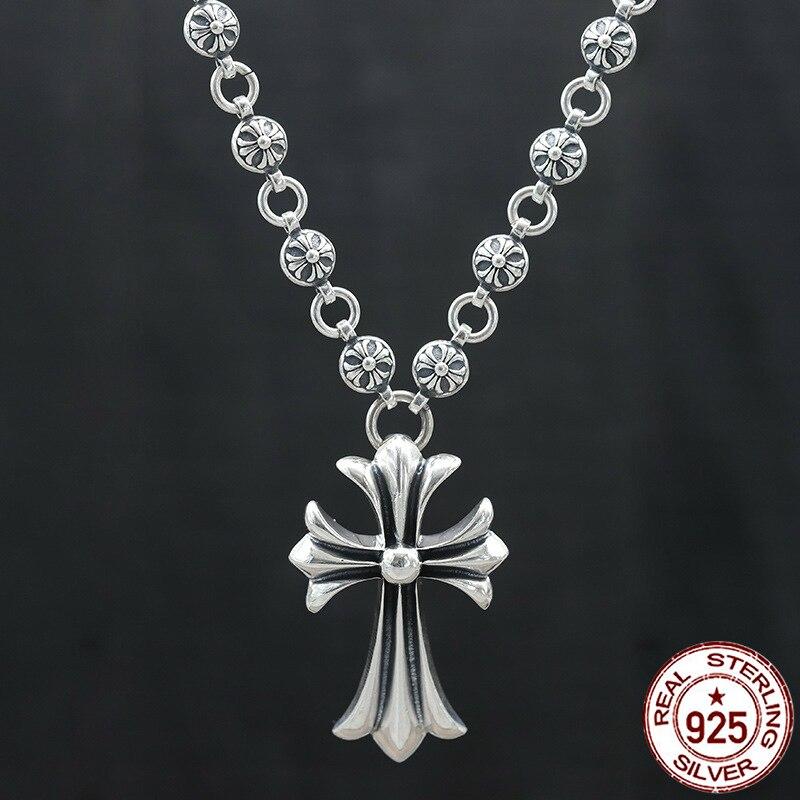 100% S925 серебро Мужская ожерелье Личность моды классические украшения крест в стиле панк форма 2018 новый подарок для отправки lover