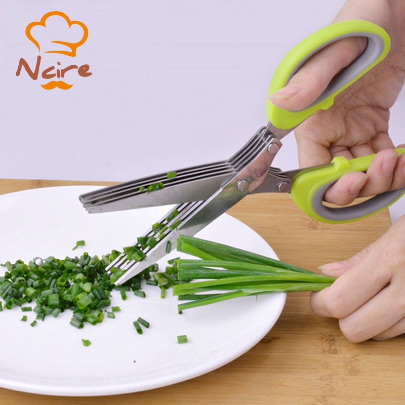 2017 New item Rugged Multifunctional Stainless Steel Kitchen Scissors 5 Layers Chopped Onion Sushi Herbs Spices