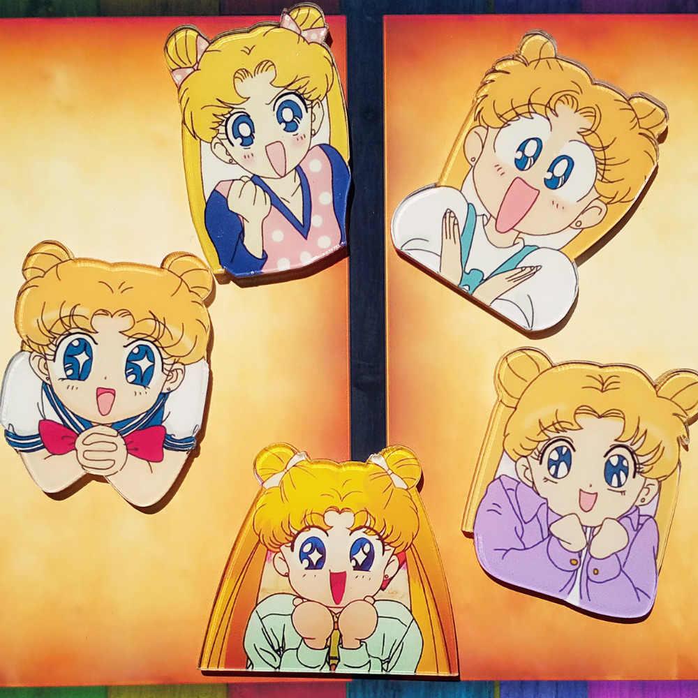 1 Pcs Kartun Anime Gadis Lucu Soldier Sailor Moon Acrylic Bros Lencana Ransel Pakaian Dekorasi Ikon Anak-anak Bros Pin