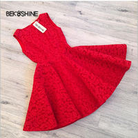 Bekoshine 2017 Vestidos Elegant Lace Dress Red Solid A Line Fashion Women Autumn Dress Sexy Slim