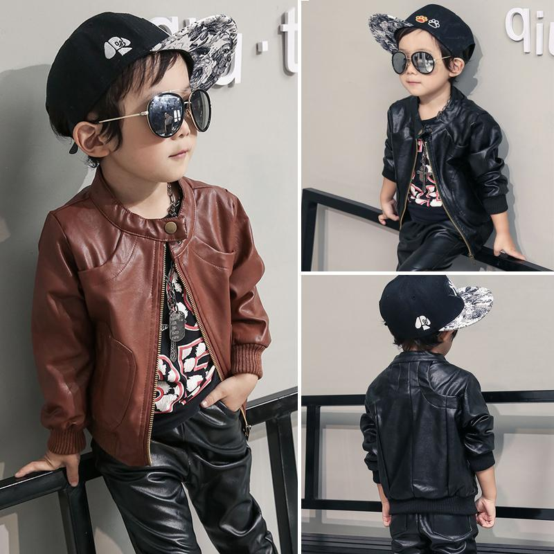Kids Outwear 2016 Autumn Winter Coats  Jackets Boys PU Leather Jacket Casual Turn-down Collar Solid Children Outerwear 12M-8t children winter coats jacket baby boys warm outerwear thickening outdoors kids snow proof coat parkas cotton padded clothes