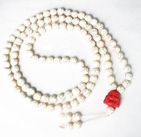 Wholesale Tibet White Round Turquoise Stone 10MM 108 Beads Red Happy Buddha Beaded Buddhism Prayer Mala Necklace