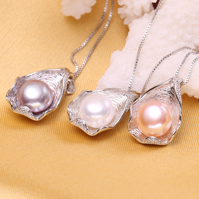 FENASY 925 Sterling Silver Natural Freshwater Pearl Necklace Pendant Shell Design Fashion Pearl Jewelry Necklace For FENASY 925 Sterling Silver Natural Freshwater Pearl Necklace Pendant Shell Design Fashion Pearl Jewelry Necklace For Women New
