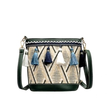 new straw women bag handbag female summer rattan bag hand-woven beach circle bohemian tassel handbag  fashion girl Messenger bag