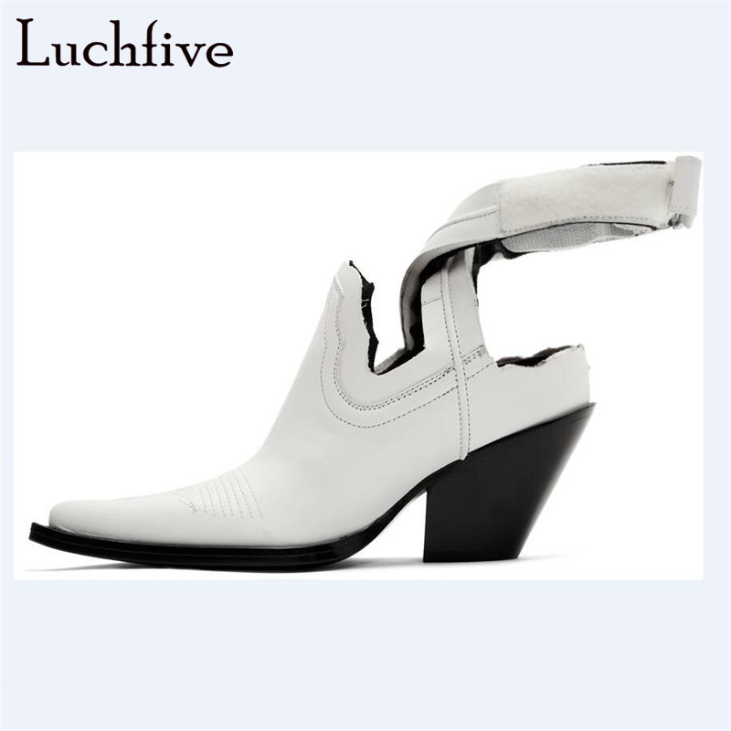 Genuine Leather Motorcycle Boots Women Sexy Pointy Toe Chunky High Heels Shoes Ankle Wrap White Black Botas FemininaGenuine Leather Motorcycle Boots Women Sexy Pointy Toe Chunky High Heels Shoes Ankle Wrap White Black Botas Feminina