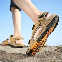 Genuine Leather Summer Shoes Men Sandals Fashion Casual Shoes Male Sandalias Beach Shoes Soft Bottom Breathable Men Slippers l