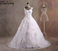 Zhiling New Model One Shoulder Vintage Beaded Vestido De Noiva Bride Dress Wedding Dress With Flowers