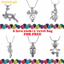 GraceAngie 1PC Mermaid Dragon Shape Hollow Cage Locket Pendant Necklace Essential Oil Diffuser Jewelry Free Lava Rock Velvet Bag(China)