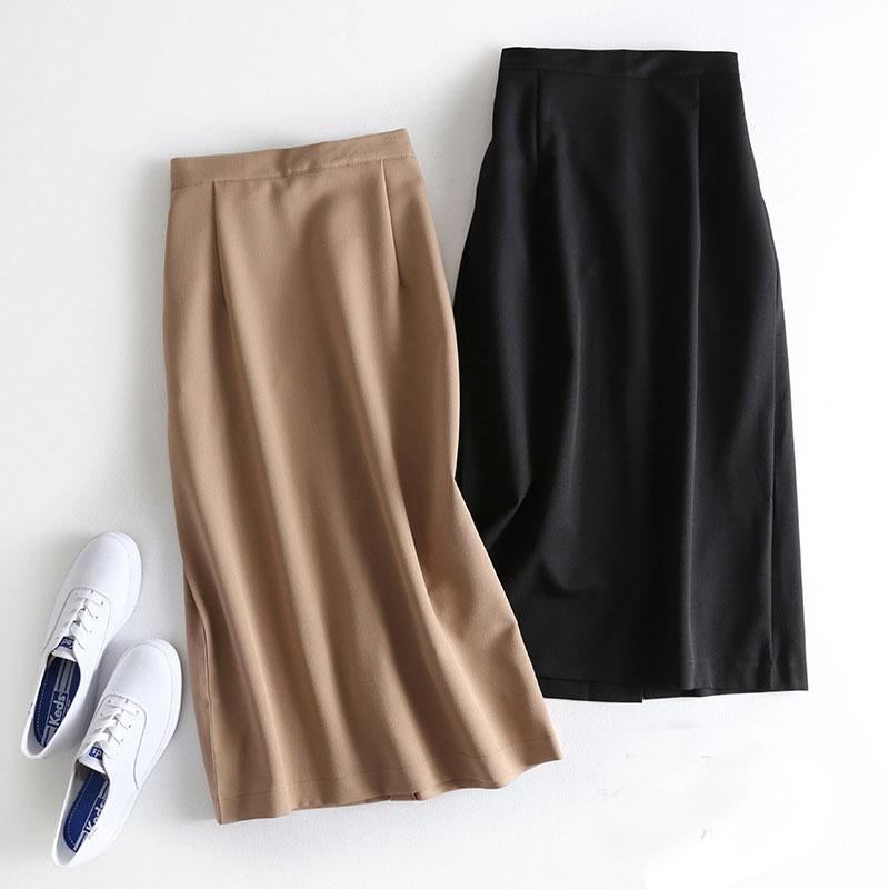 2019 Autumn Women Solid Skirts Elastic High Waist A-Line Skirts Women Office Lady Skirt Split Elegant Skirts Faldas Saia Khaki
