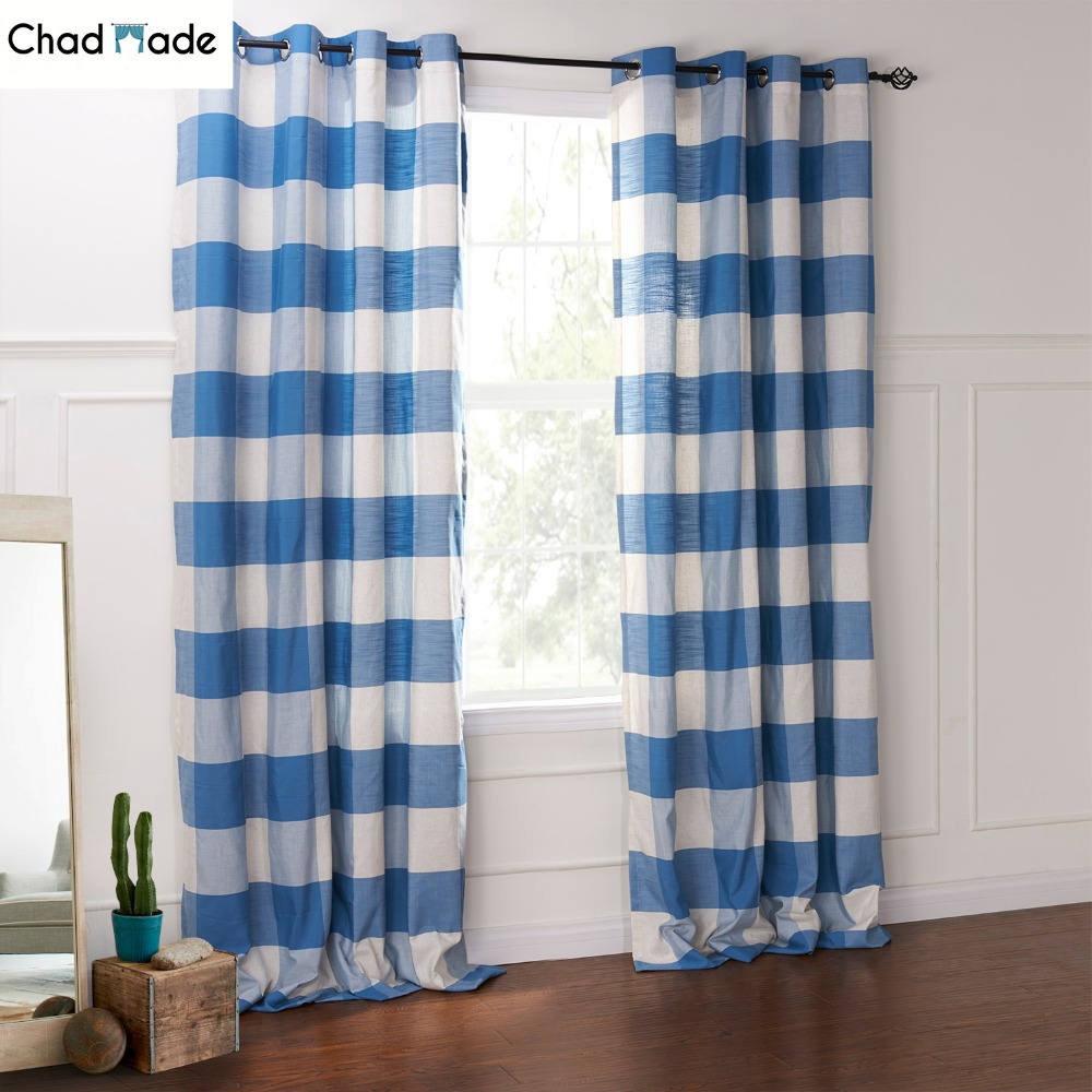 Chadmade Custom Size Window Curtain Blue Color Plaid High Shading Kitchen Curtains For Living Room Bedroom Modern Drapery
