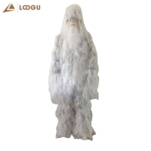 Snow White Tactical Hunting Clothes Ghillie Suit Military Army Camouflage Birding Hiding Concealment Suit Sniper Outdoor Shoot 1