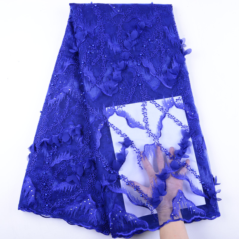 Royal Blue African Lace Fabric 3D Flower High Quality 2019 French Tulle Lace Fabric Nigerian Net