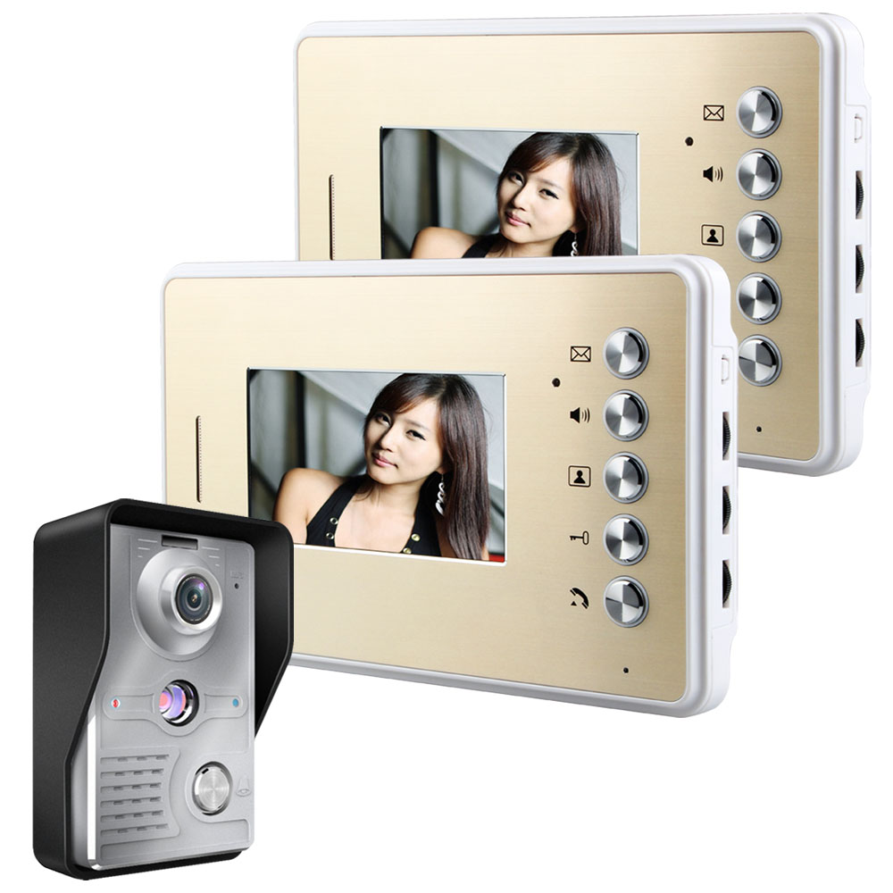 Free Shipping! MOUNTAINONE 4.3 Inch Video Door Phone Doorbell Intercom Kit 1-camera 2-monitor Night VisionFree Shipping! MOUNTAINONE 4.3 Inch Video Door Phone Doorbell Intercom Kit 1-camera 2-monitor Night Vision