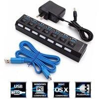 High Speed USB 7 Ports USB 3 0 Hub With On Off Switch US AC Power