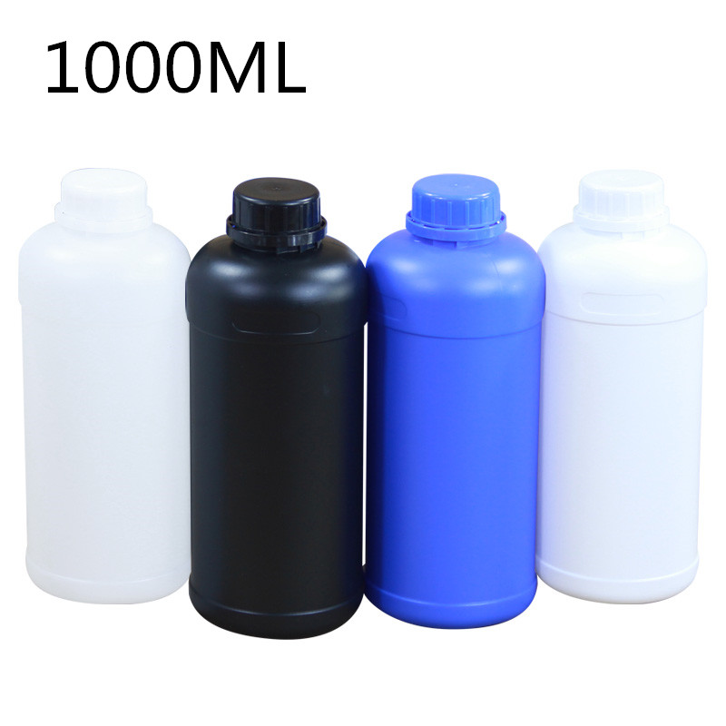 4PCS Round Plastic Bottles With Screw Cap 1 Liter Container Shampoo Lition Liquid Cosmetic Bottles HDPE Food Grade