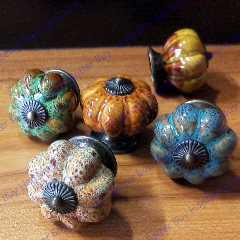 ФОТО 5pcs/set 40*37mm Pumpkin ceramic knob Beige Single Hole knob Zinc alloy Kitchen Furniture knob drawer knob