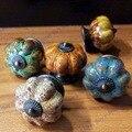 5pcs/set 40*37mm Pumpkin ceramic knob Beige Single Hole knob Zinc alloy Kitchen Furniture knob drawer knob