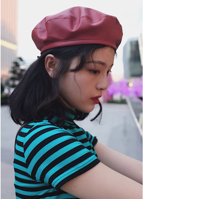 beret women winter french red black wool beret hat women french hat female beret women beret hats women leather beret women (7)