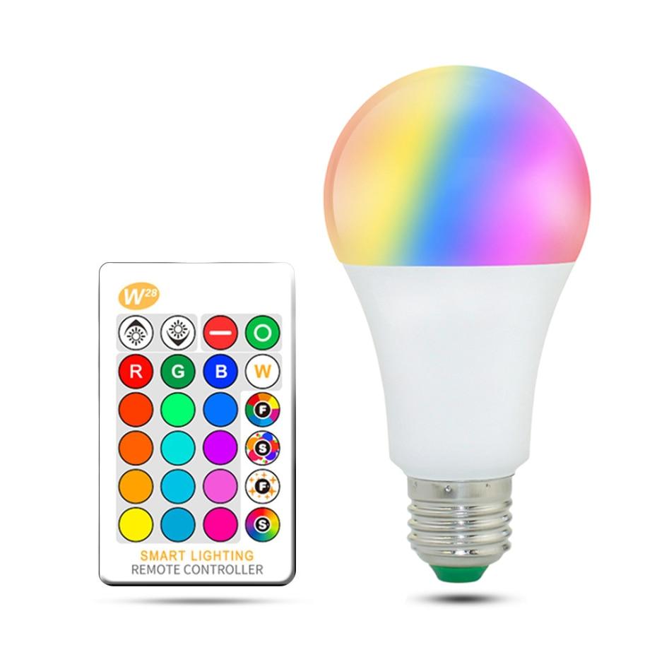 LED E27 E14 3W RGB Bulb Lamp 5W RGB 10W/15W RGBW RGBWW AC110V 220V LED Spot Light Dimmable Magic IR Remote Control bombillas led стоимость