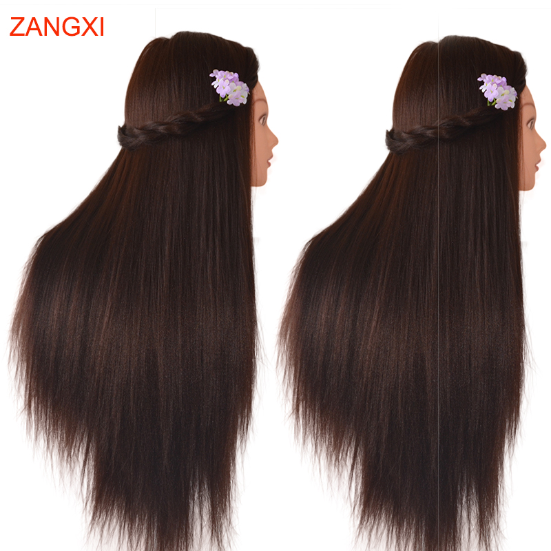 "28"" Professional Styling Head Training Doll Hair Dark Brown Hair Model For Hairdressing Manikin Nice Maniqui Mannequin Head Wig"