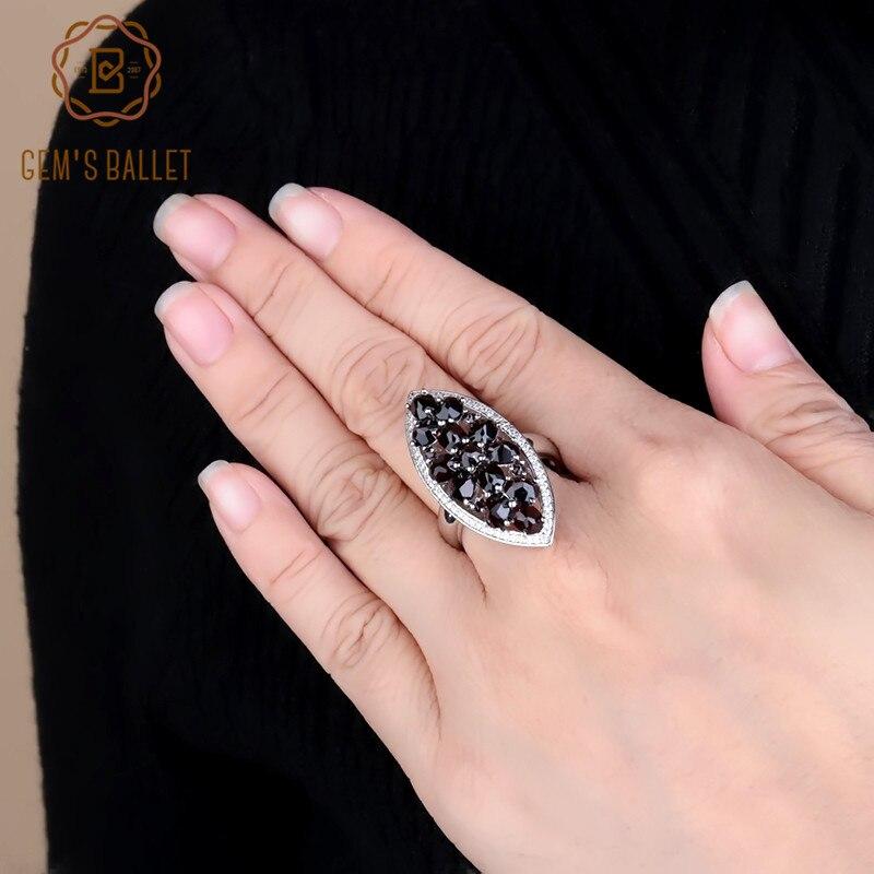 Gem s Ballet 925 Sterling Silver Wedding Band Ring Fine Jewelry 5 71Ct Natural Black Garnet