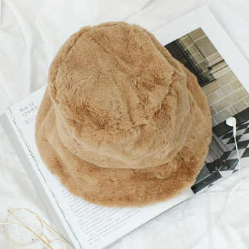 2018 Fur Thick Warm Winter Bucket Hat Women Solid Color Girls Flat Top Velvet Fedoras Ladies Plush Bob Feminios Fashion Gorras