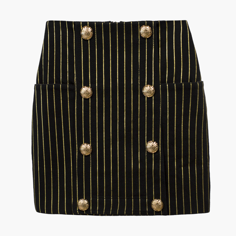 High Quality Elegant Women s Gold Thread All match Double Breasted Buttons Above Knee Striped Casual