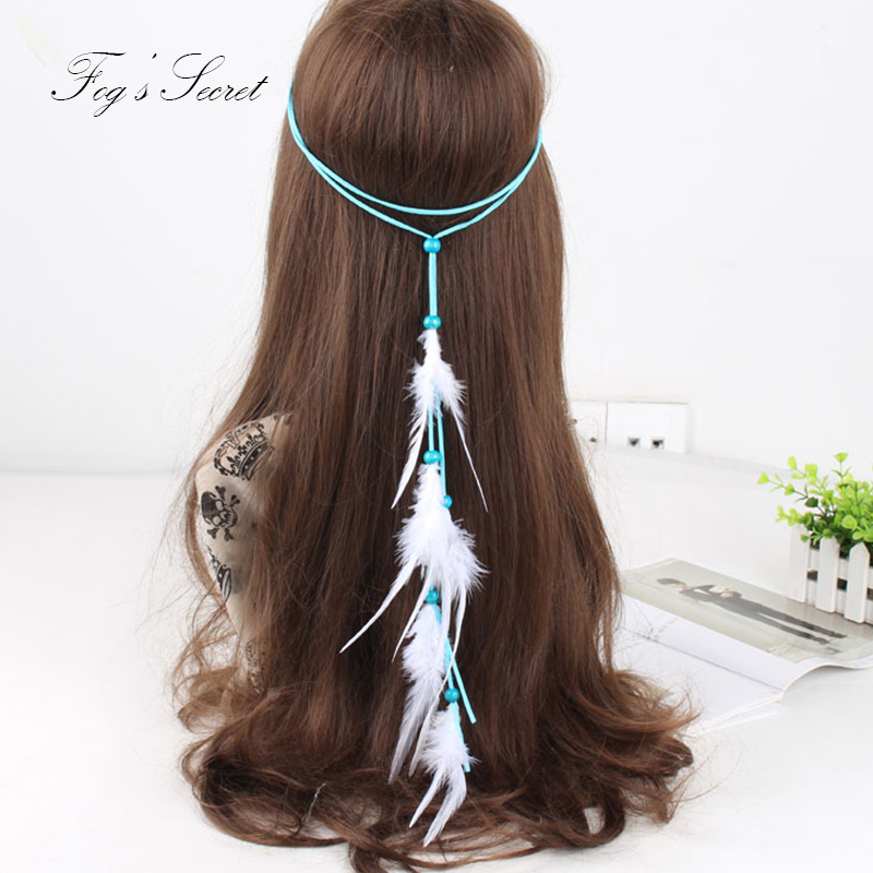 Feather Hair Band For Women Ethnic Hair Accessories Indian Hairband Gypsy Hair Ornaments Hippie Bohemian