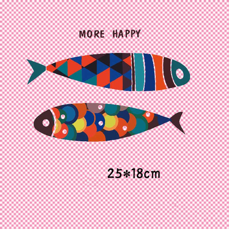 Zwei Bunte Fische Patch T-shirt Presse Aufkleber Waschbar Eisen Auf Transfers Patches Für T Shirts Hoodies Taschen 25x18 cm