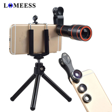 4 In 1 HD 12X Zoom Telescope Lens Fisheye Wide Angle Macro Mobile Camera Lens with
