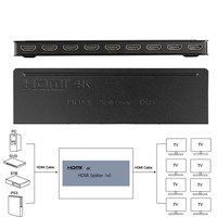 Portable Ultra Slim Mini Metal Case HDMI 1x8 Splitter TV Walls 4K HDMI Video Audio 8 Port Splitter Amplifier Repeater 3D 1080p