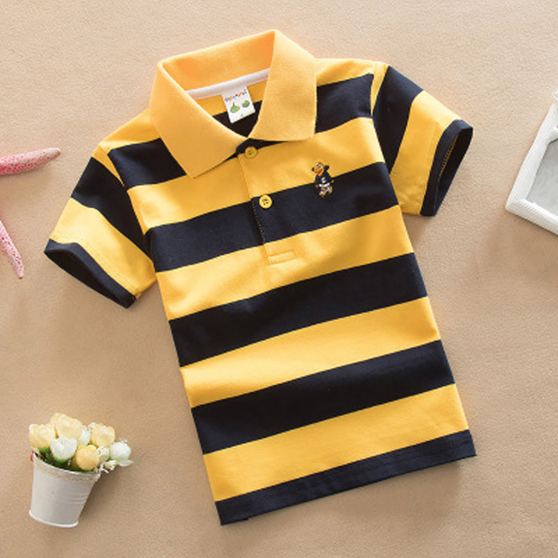Boys Striped Summer Polo Shirts School Children Clothing Cotton Short Sleeve Turn-down Collar Buttoned Sports Tees Size 24M-12T buttoned closure back cut and sew cap sleeve top
