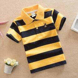 Meninos listrado verão camisas polo escola crianças roupas de algodão manga curta turn-down colarinho abotoado esportes t tamanho 24 m-12 t