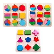 цена на Wooden Geometric Shapes Sorting Math Montessori Puzzle Preschool Learning Educational Game Baby Toddler Toys for Children DS19