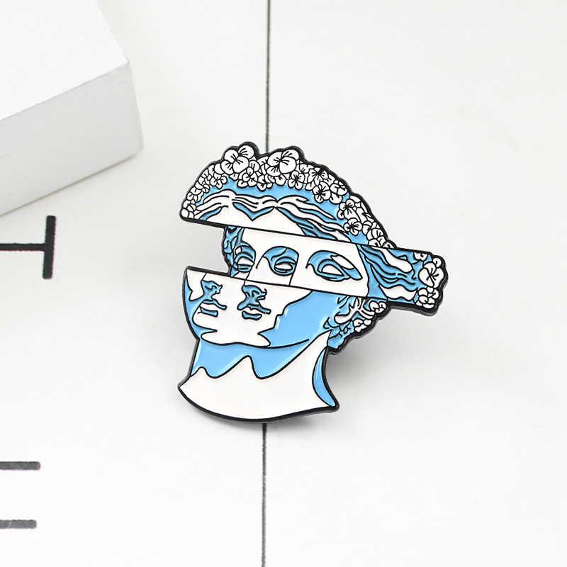 Seni Kreatif Patung Bros Biru Dislokasi Wajah Wanita Bunga Rambut Enamel Pin Mantel Kulit Kerah Lencana Simbol Artis Hadiah