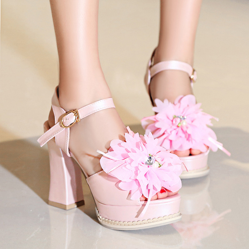 YMECHIC White Pink Party Wedding Bridal Chunky High Heels