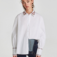 Women Brand Floral Embroidery Blouse Long Sleeve Shirts White Female Ladies Casual Shirt Tops Christmas Gift