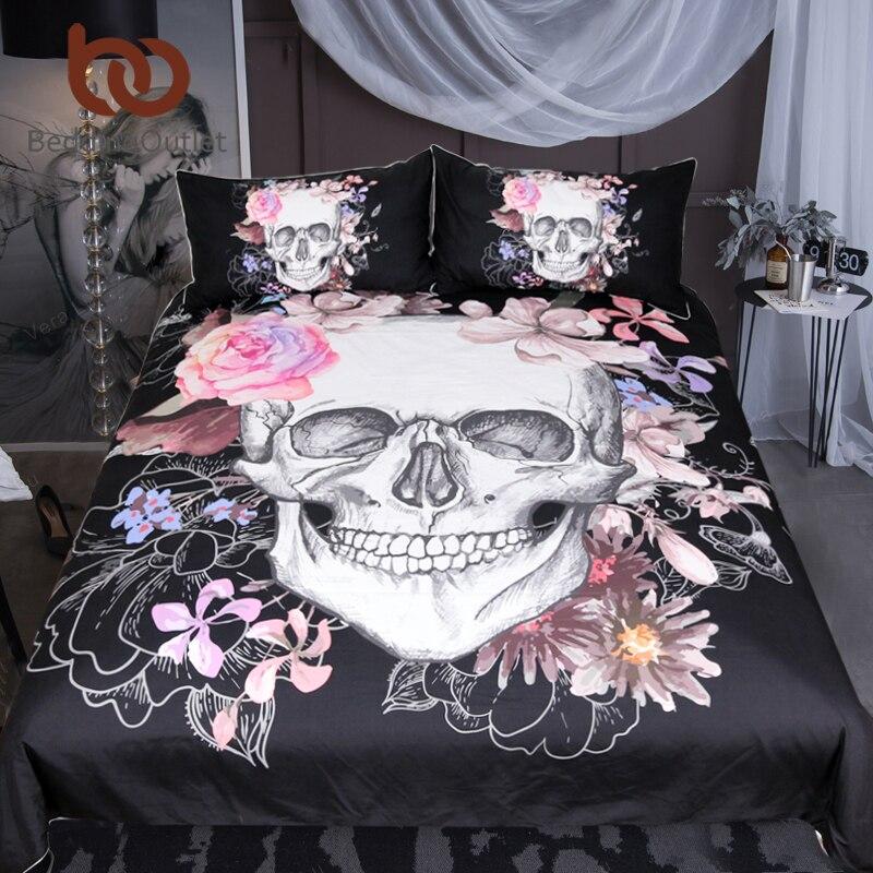 BeddingOutlet Sugar Skull Bedding Set Floral Bed Duvet Cover Set Black Modern 3 Pieces Microfiber Bedspreads Queen King