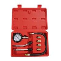 8PCS Petrol Gas Engine Cylinder Compressor Gauge Meter Test Pressure Compression Tester Leakage Diagnostic Pressure Gauges