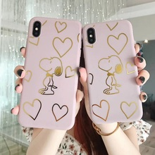 Japan cartoon Gold line dog couple matte pink phone case For iphone Xs MAX for iphone11 11pro max XR X 7 8 plus soft cover