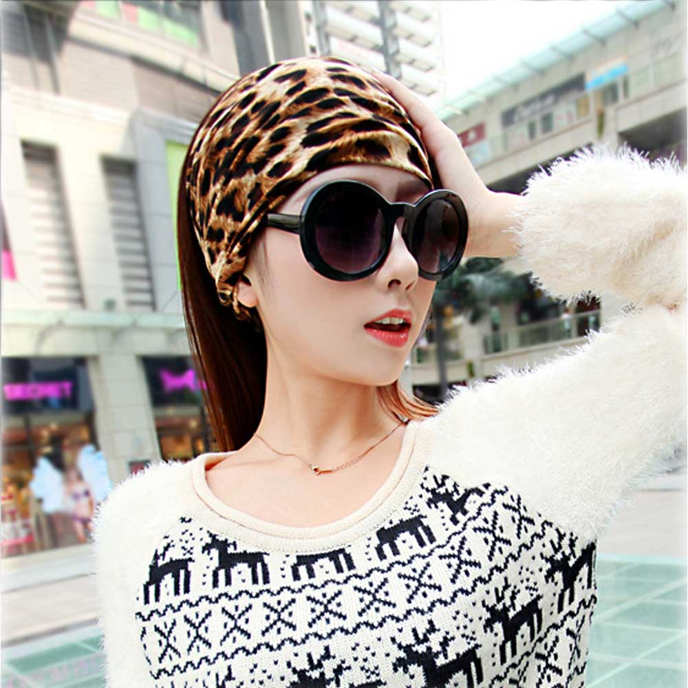 Leopard Striped 100% Cotton Headband Elastic Print Knottd Stretch Hair Band For Women Lady Casual Turban gorgeous faux feather elastic hair band for women