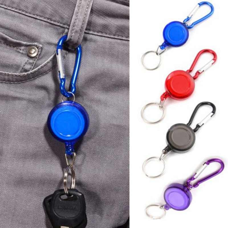 Hot Mulitifunctional Multicolor Badge Reel Retractable Keychain Recoil New  Ski Pass ID Card Holder Keyring Key Chain Steel Cord